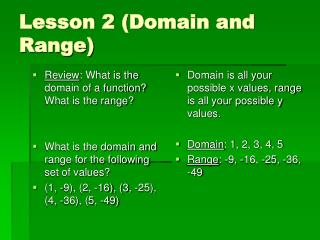 Lesson 2 (Domain and Range)