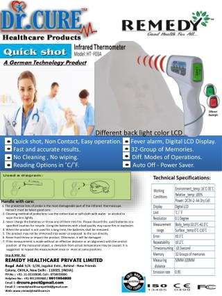 Quick shot, Non Contact, Easy operation.      Fever alarm, Digital LCD Display.
