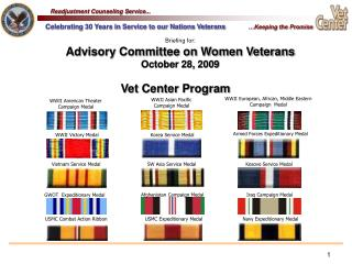 Briefing for: Advisory Committee on Women Veterans  October 28, 2009