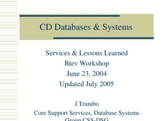 CD Databases & Systems