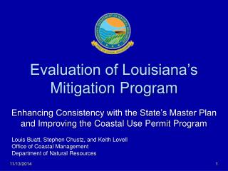 Evaluation of Louisiana's Mitigation Program Enhancing Consistency with the State's Master Plan