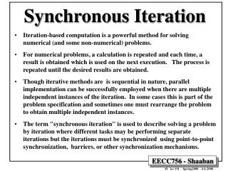 Synchronous Iteration