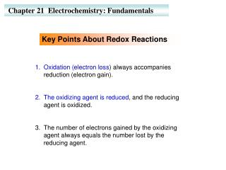 Chapter 21  Electrochemistry: Fundamentals