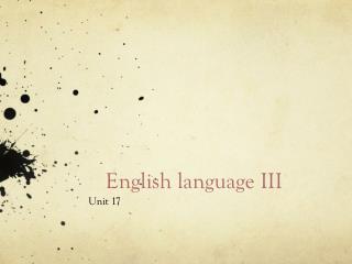 E nglish language III