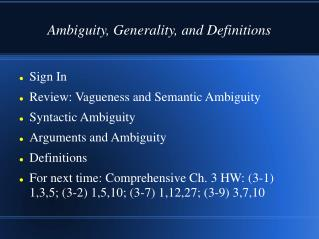 Ambiguity, Generality, and Definitions