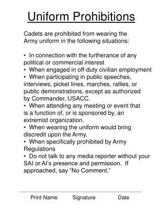 Uniform Prohibitions