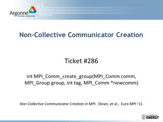 Non-Collective Communicator Creation
