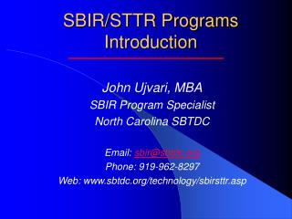 SBIR/STTR Programs Introduction