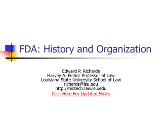 FDA: History and Organization