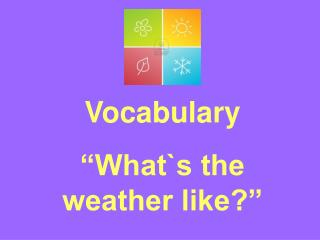 Vocabulary �What`s the weather like?�