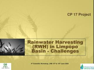 Rainwater Harvesting (RWH) in Limpopo Basin - Challenges