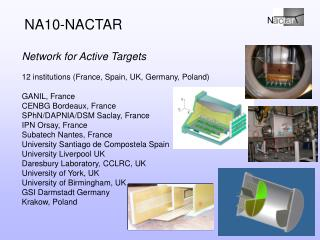 Network for Active Targets 12 institutions (France, Spain, UK, Germany, Poland) GANIL, France