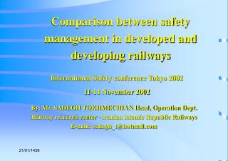 Comparison between safety management in developed and developing railways