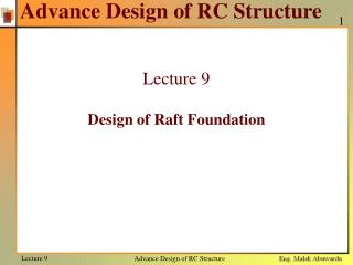 Advance Design of RC Structure