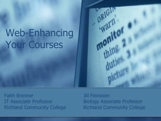 Web-Enhancing Your Courses