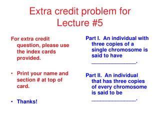 Extra credit problem for Lecture #5