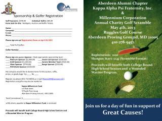 Golf Foursome:  $340.00               Individual Golfer:  $85.00