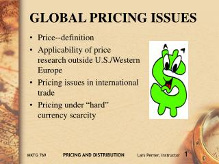 GLOBAL PRICING ISSUES