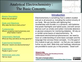 Analytical Electrochemistry :                    The Basic Concepts