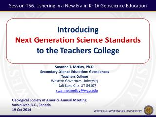 Introducing  Next Generation Science Standards  to the Teachers College