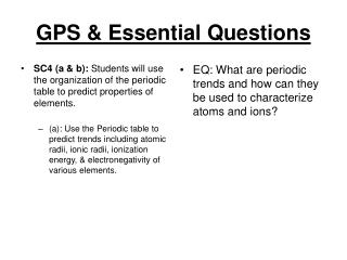 GPS & Essential Questions