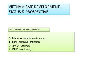 VIETNAM SME  DEVELOPMENT – STATUS & PROSPECTIVE