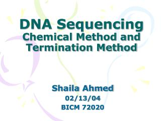 DNA Sequencing Chemical Method and Termination Method