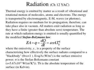 Radiation  (Ch 12 YAC)