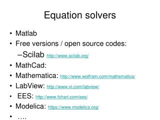 Equation solvers