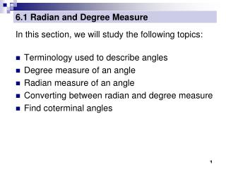 6.1 Radian and Degree Measure