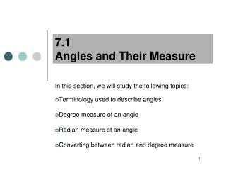 7.1  Angles and Their Measure