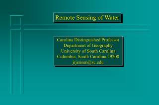 Carolina Distinguished Professor Department of Geography University of South Carolina