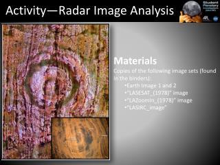 Activity—Radar Image Analysis