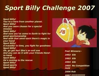 Sport Billy Challenge 2007