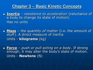 Chapter 3 – Basic Kinetic Concepts