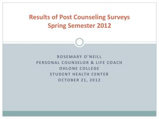 Results of Post Counseling Surveys  Spring Semester 2012
