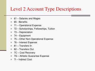 Level 2 Account Type Descriptions