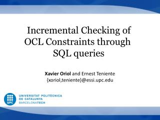 Incremental Checking of OCL  Constraints  through SQL queries