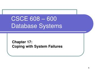CSCE 608 � 600  Database Systems