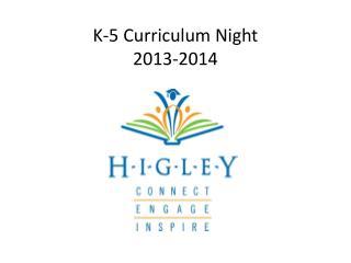 K-5 Curriculum Night  2013-2014
