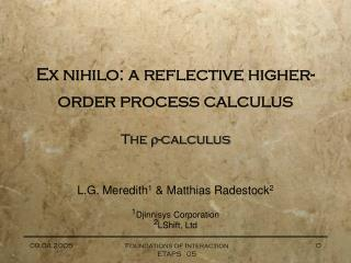 Ex nihilo: a reflective higher-order process calculus