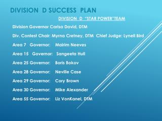 DIVISION   D SUCCESS   PLAN