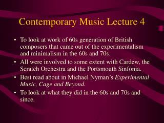 Contemporary Music Lecture 4
