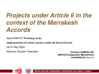 Projects under Article 6 in the context of the Marrakesh Accords