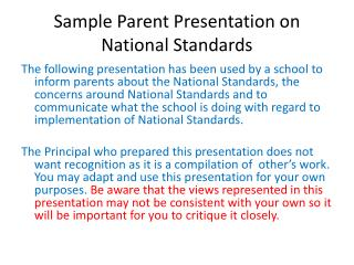Sample Parent Presentation on National Standards