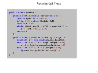 Function Call Trace