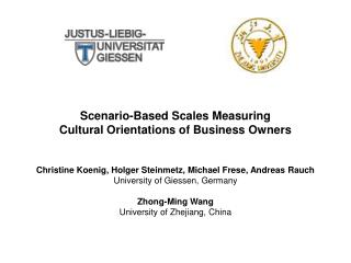 Scenario-Based Scales Measuring  Cultural Orientations of Business Owners