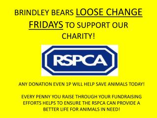 BRINDLEY BEARS  LOOSE CHANGE FRIDAYS  TO SUPPORT OUR CHARITY!