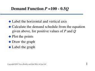 Demand Function  P  =100 - 0.5 Q