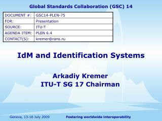IdM and Identification Systems